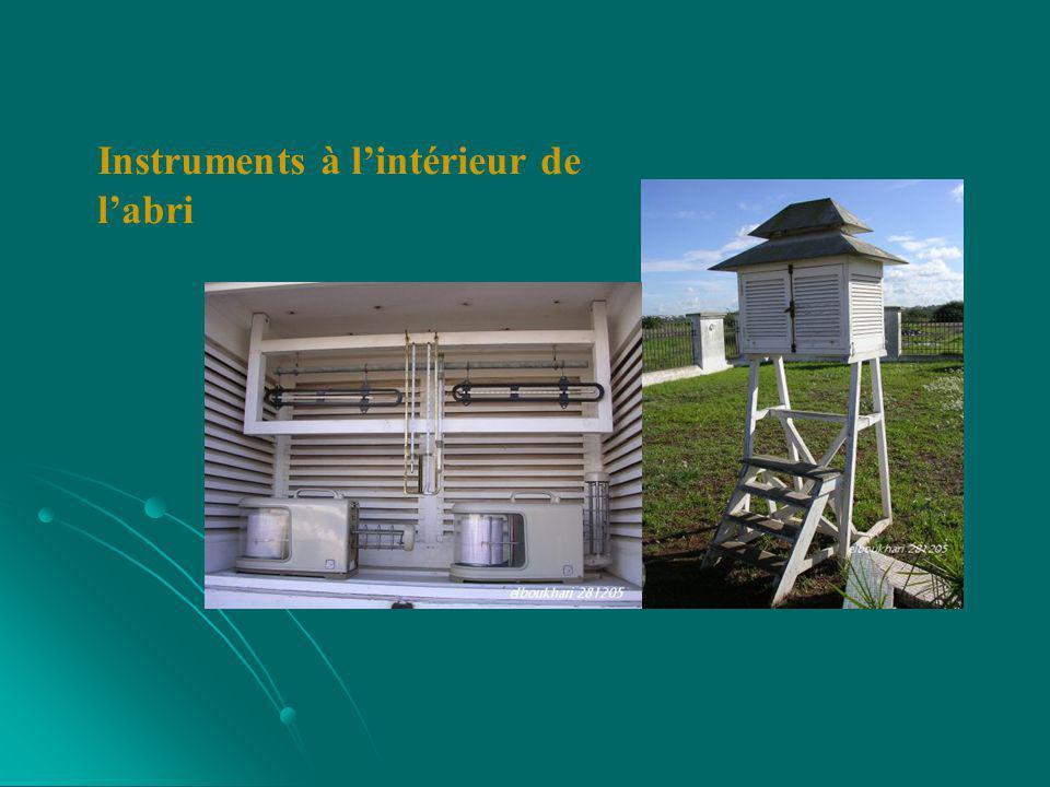 Instruments à l'intérieur de l'abri