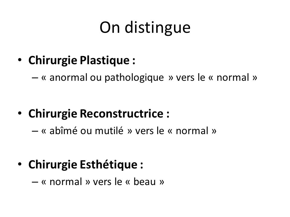 On distingue Chirurgie Plastique : Chirurgie Reconstructrice :