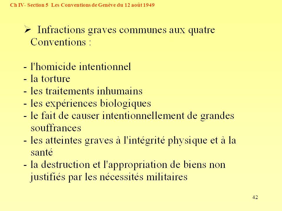Ch IV- Section 5 Les Conventions de Genève du 12 août 1949