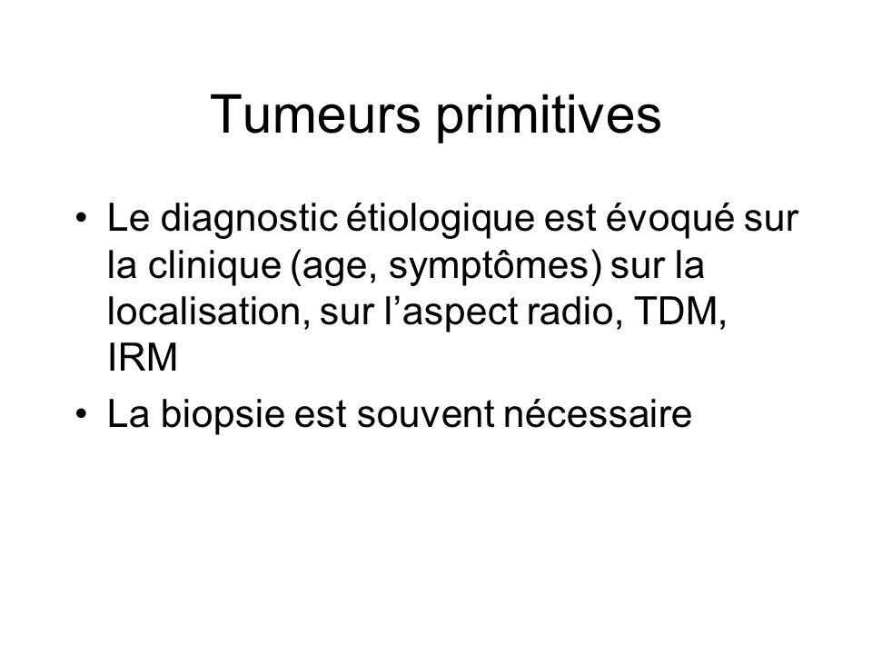 Tumeurs primitives Le diagnostic étiologique est évoqué sur la clinique (age, symptômes) sur la localisation, sur l'aspect radio, TDM, IRM.