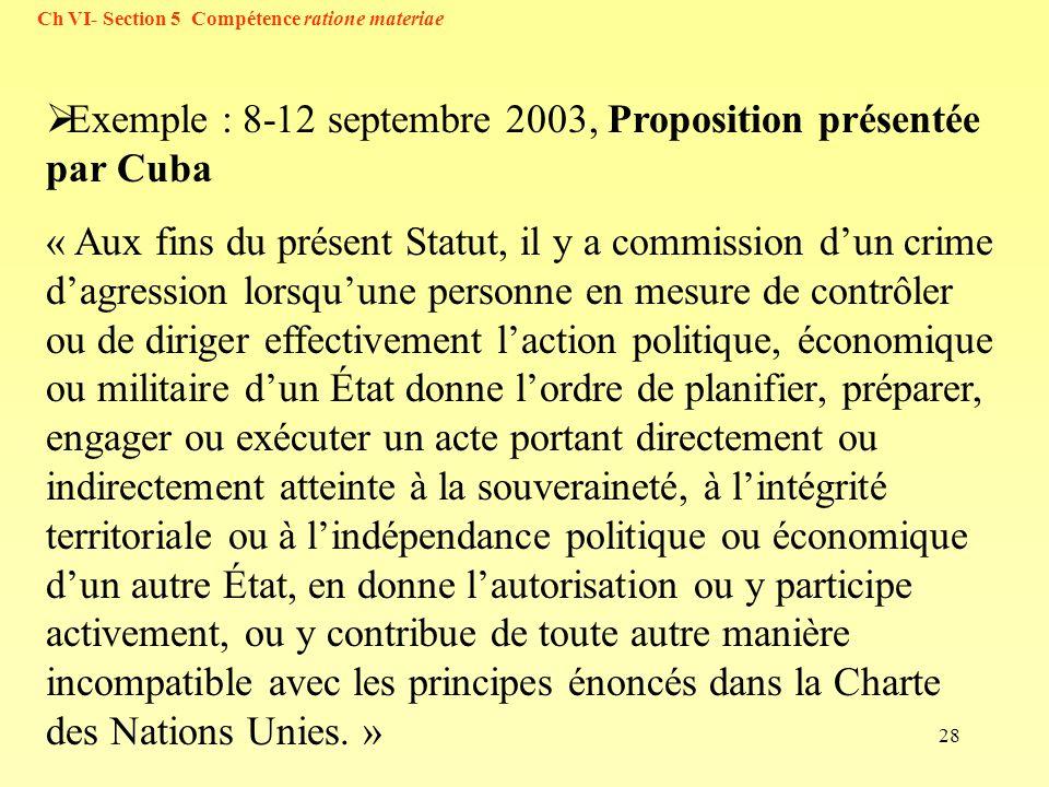 Exemple : 8-12 septembre 2003, Proposition présentée par Cuba