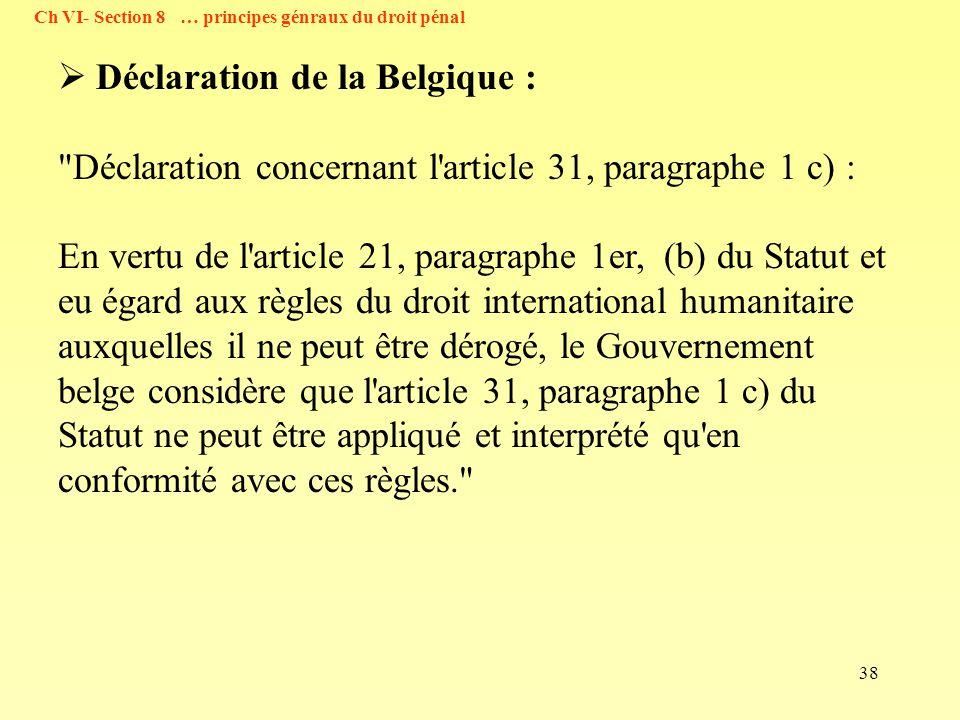 Déclaration de la Belgique :
