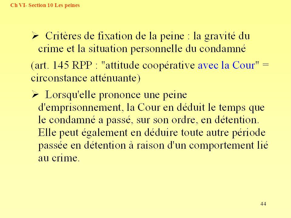 Ch VI- Section 10 Les peines