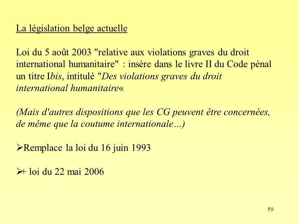 La législation belge actuelle