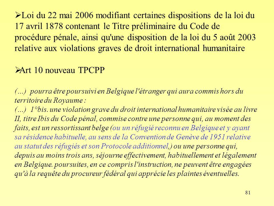 Loi du 22 mai 2006 modifiant certaines dispositions de la loi du 17 avril 1878 contenant le Titre préliminaire du Code de procédure pénale, ainsi qu une disposition de la loi du 5 août 2003 relative aux violations graves de droit international humanitaire