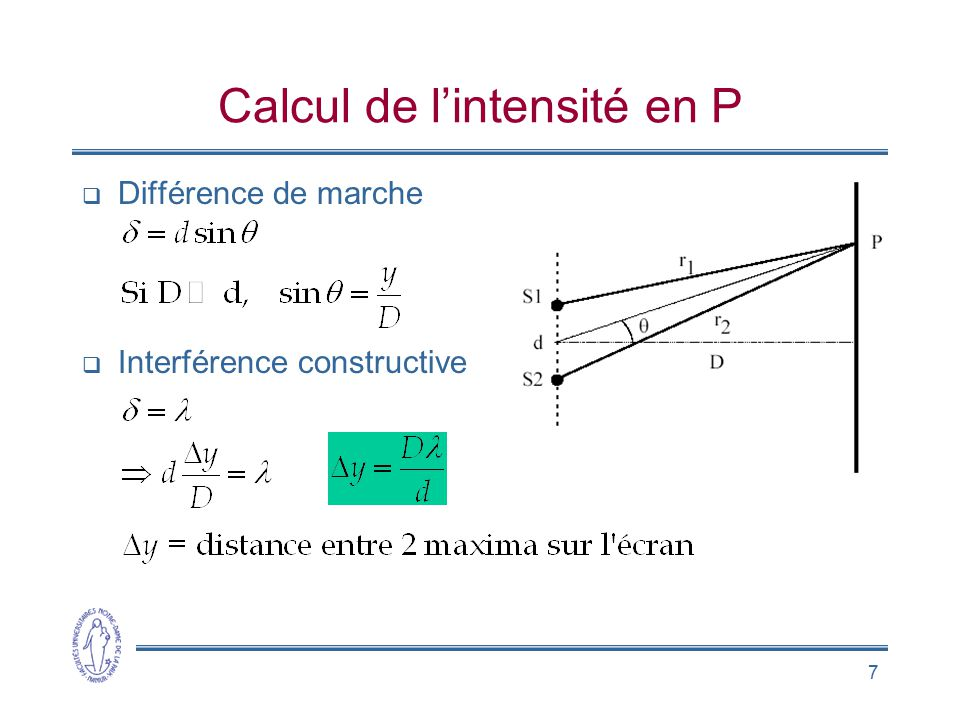 Calcul de l'intensité en P