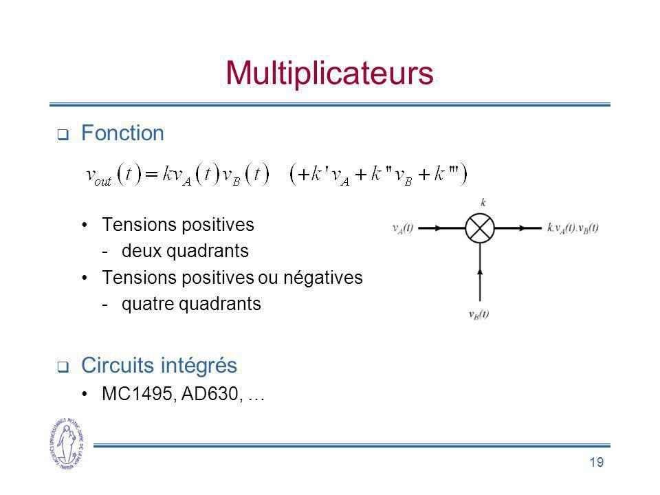 Multiplicateurs Fonction Circuits intégrés Tensions positives