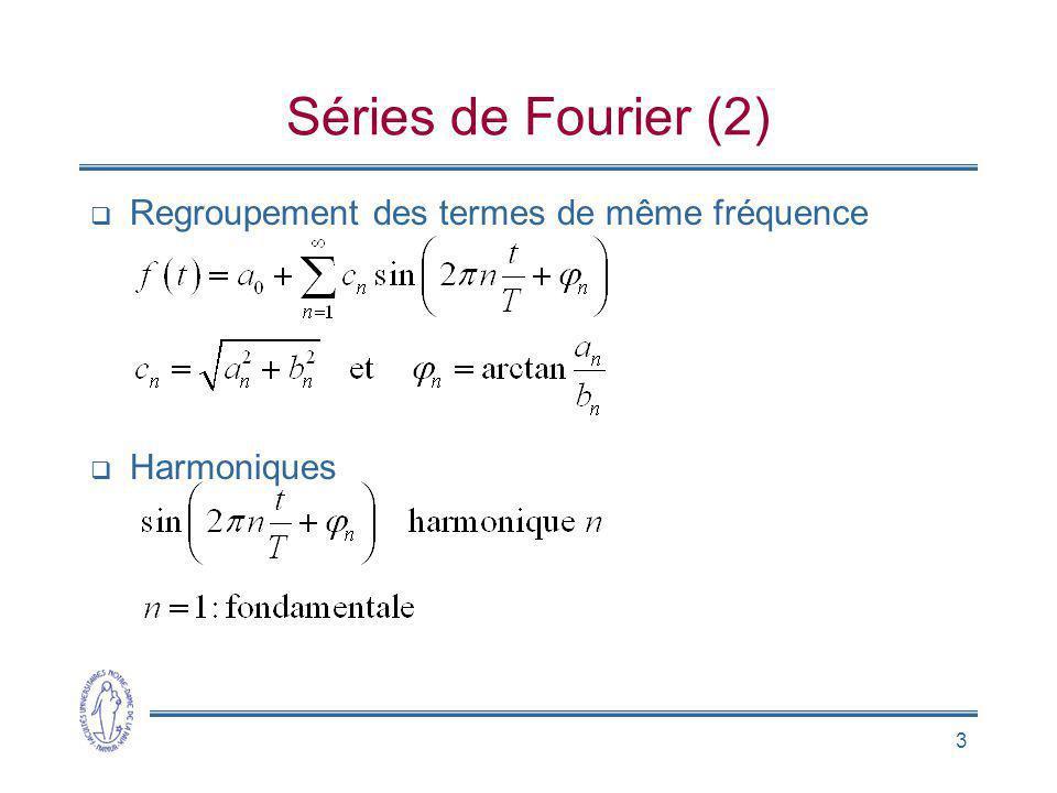 Séries de Fourier (2) Regroupement des termes de même fréquence