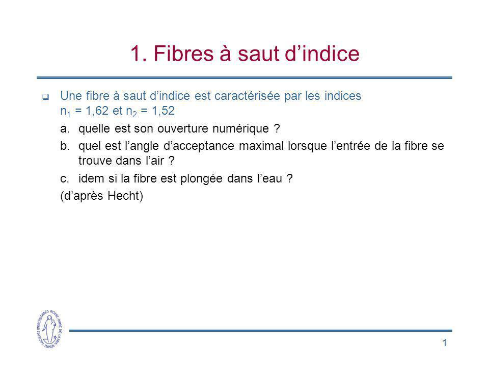 1. Fibres à saut d'indice Une fibre à saut d'indice est caractérisée par les indices n1 = 1,62 et n2 = 1,52.