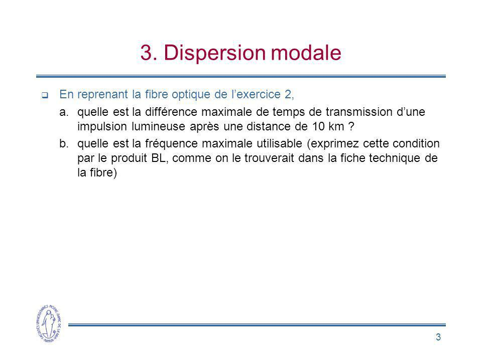 3. Dispersion modale En reprenant la fibre optique de l'exercice 2,