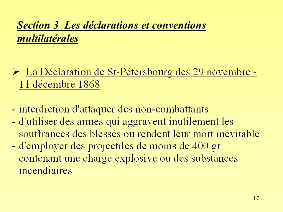 Section 3 Les déclarations et conventions multilatérales