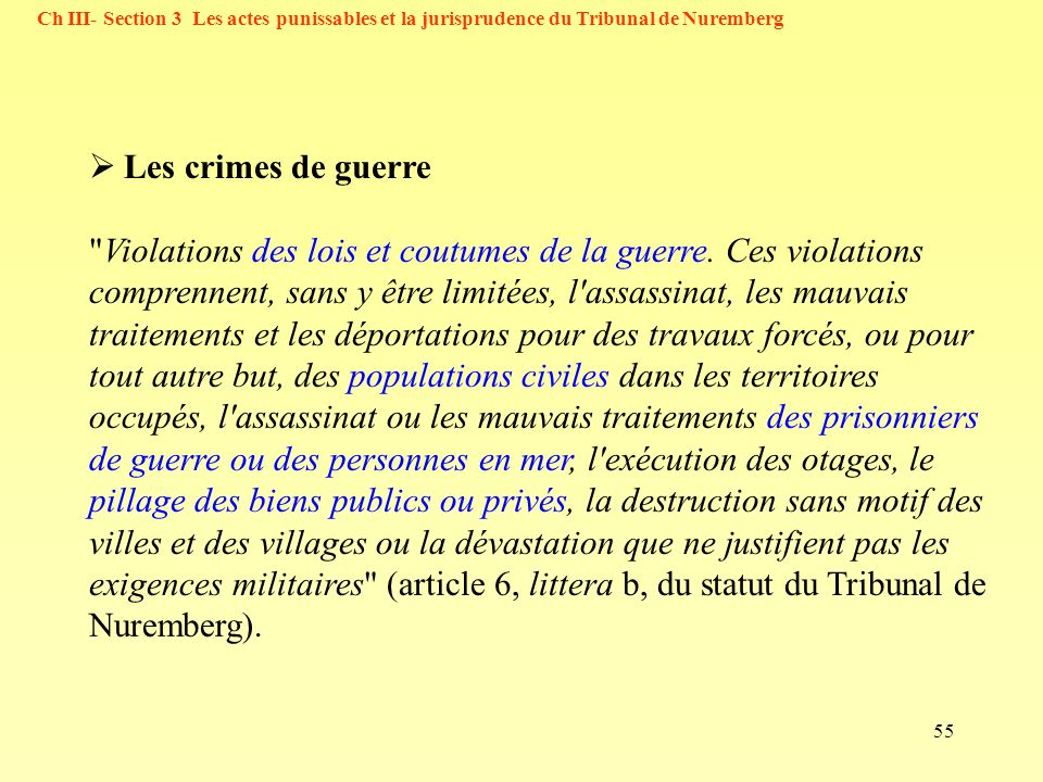 Ch III- Section 3 Les actes punissables et la jurisprudence du Tribunal de Nuremberg