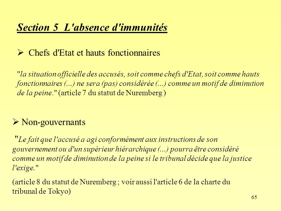 Section 5 L absence d immunités