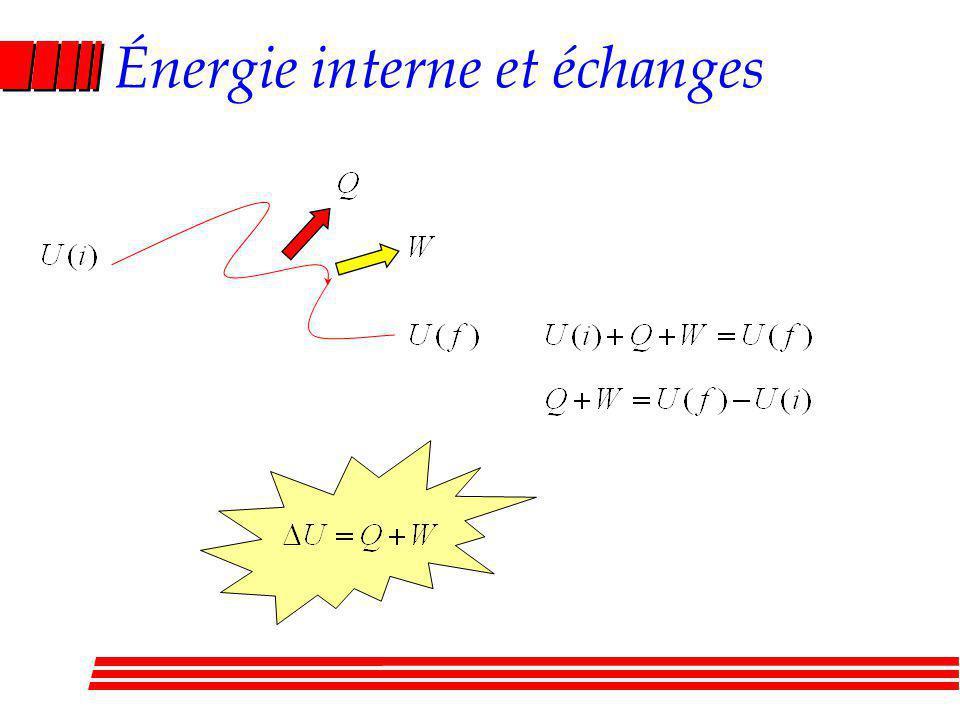 Énergie interne et échanges