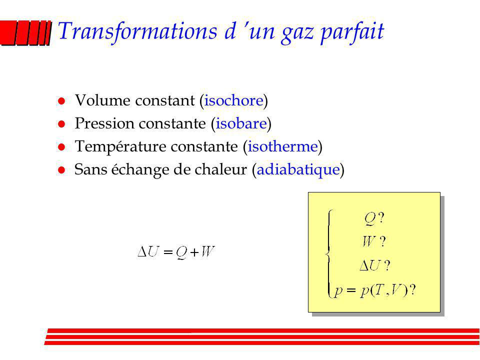 Transformations d 'un gaz parfait