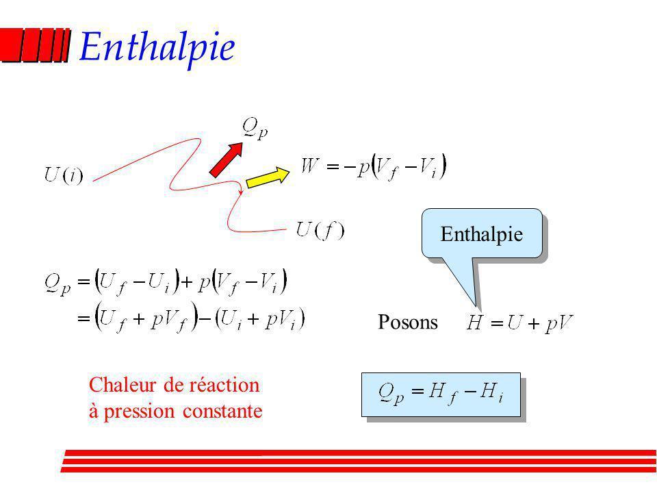 Enthalpie Enthalpie Posons Chaleur de réaction à pression constante