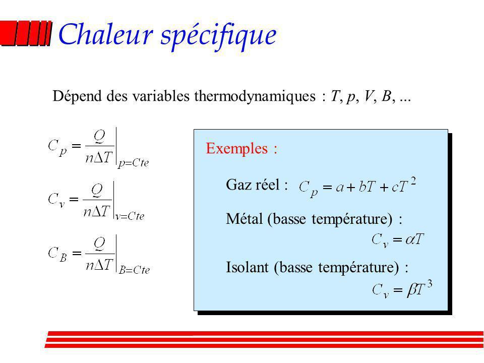Chaleur spécifique Dépend des variables thermodynamiques : T, p, V, B, ... Exemples : Gaz réel : Métal (basse température) :