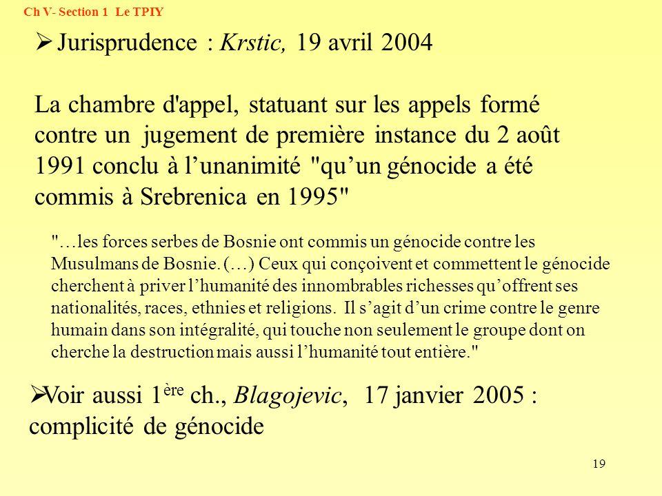 Jurisprudence : Krstic, 19 avril 2004