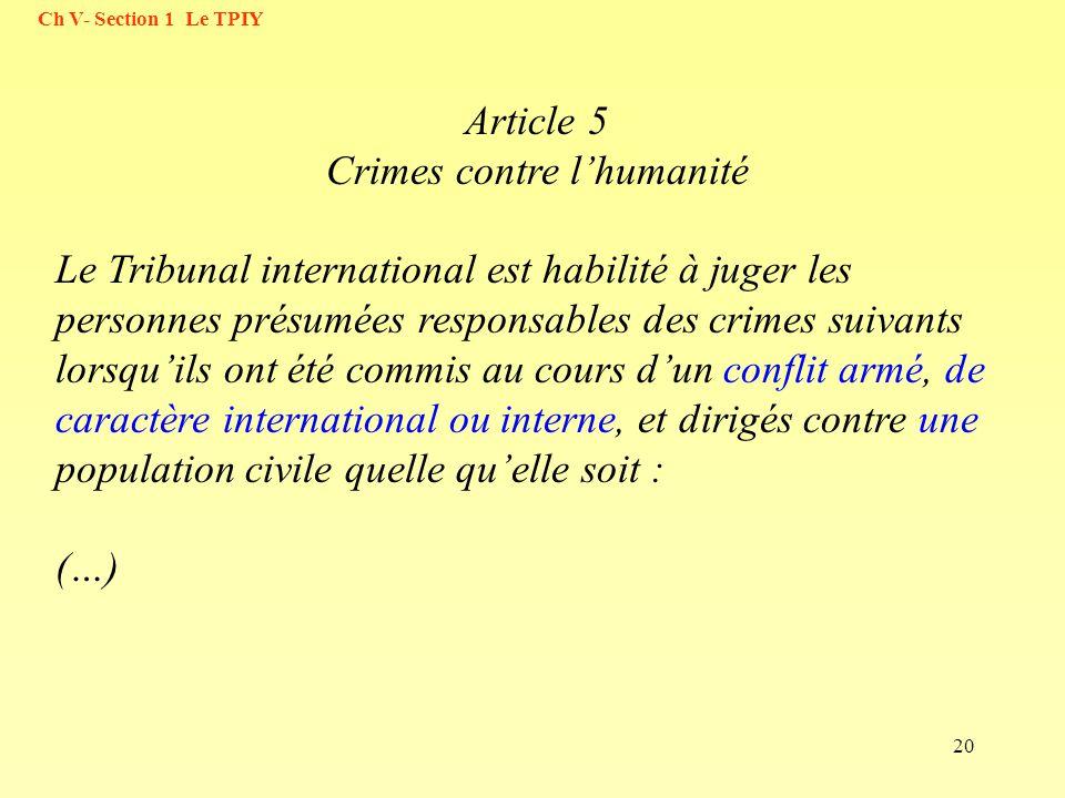 Article 5 Crimes contre l'humanité