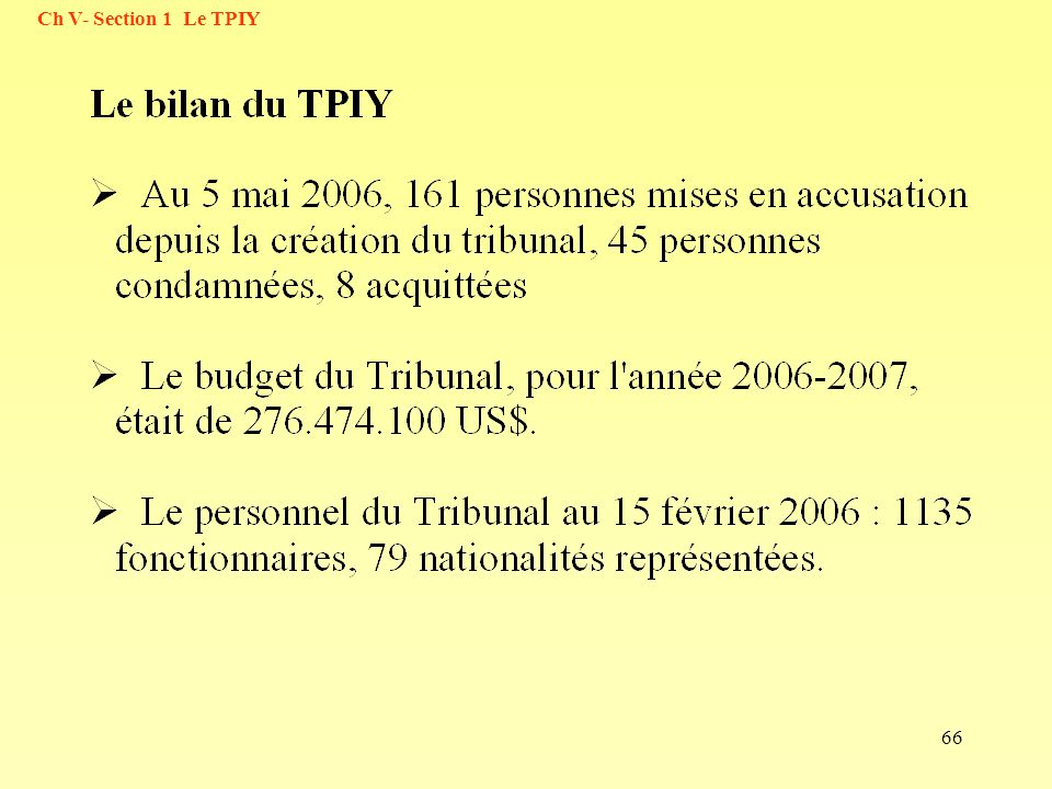 Ch V- Section 1 Le TPIY