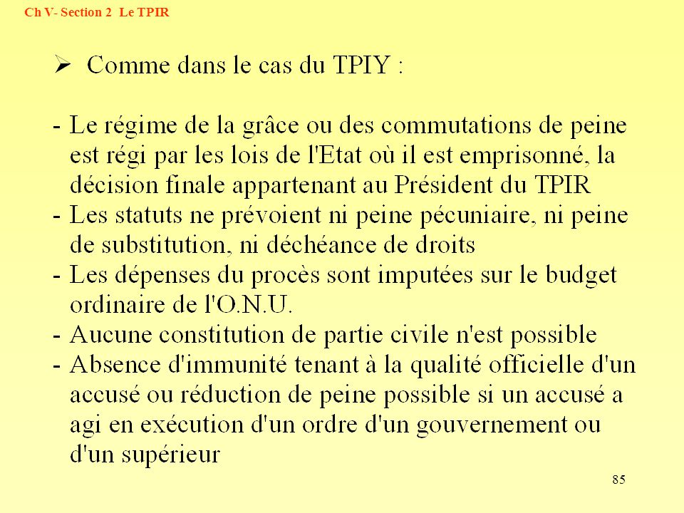 Ch V- Section 2 Le TPIR