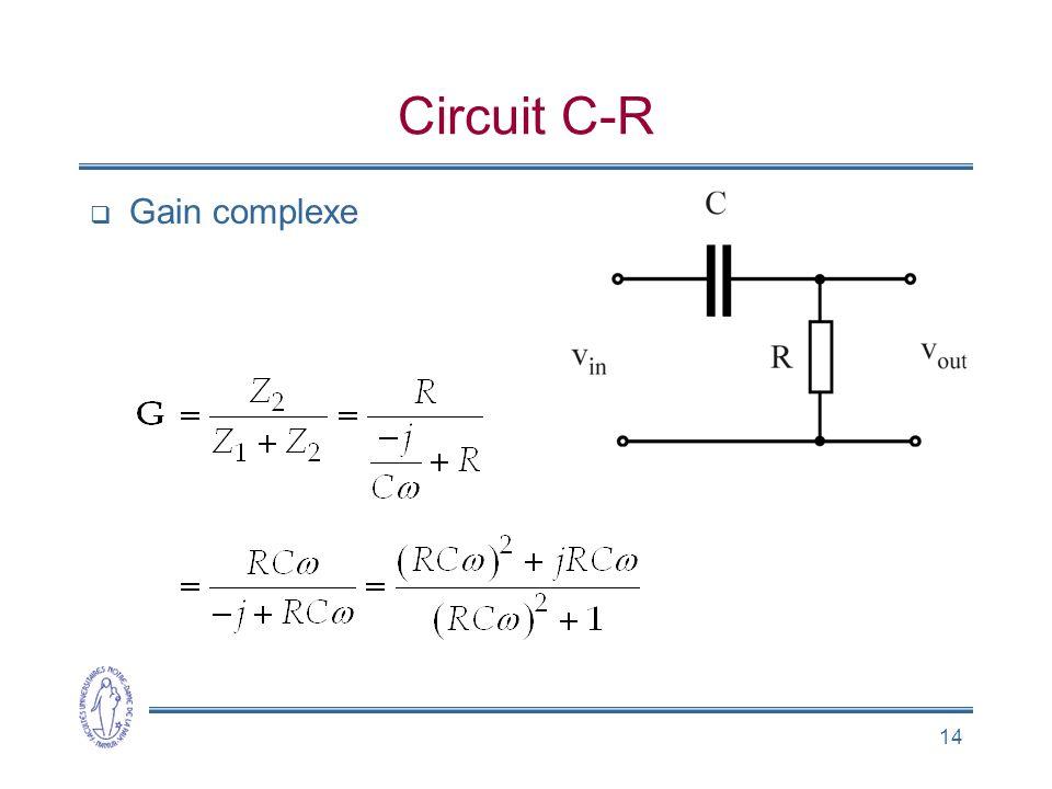 Circuit C-R Gain complexe