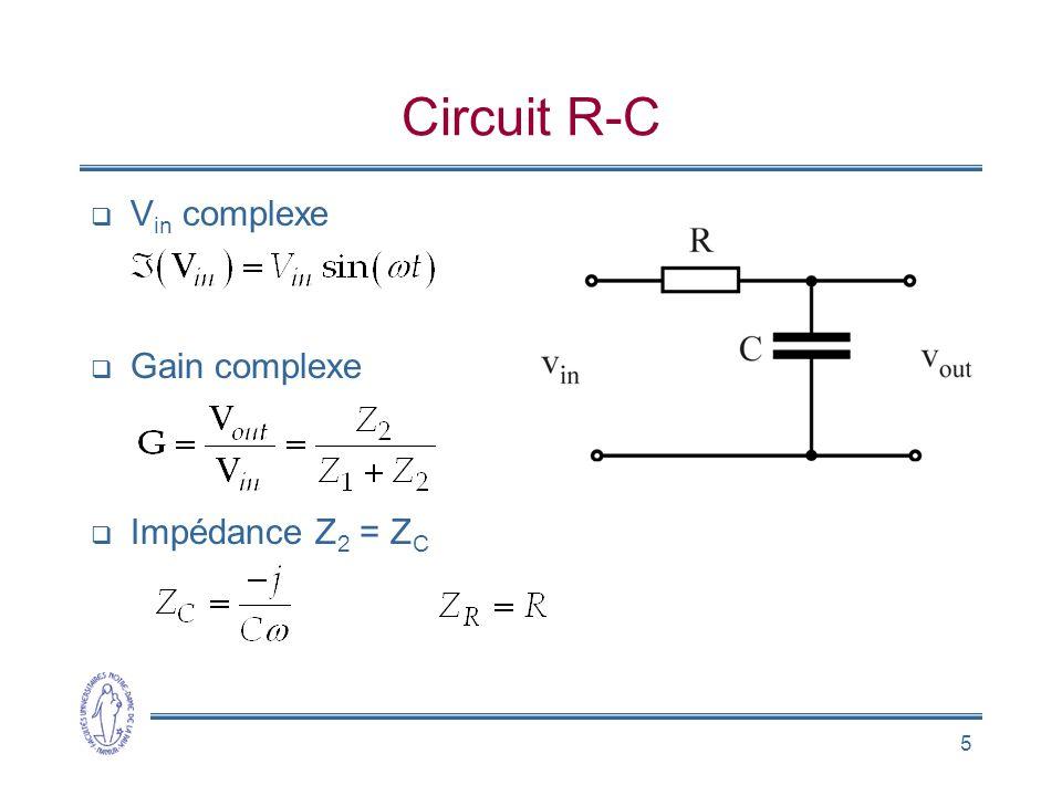Circuit R-C Vin complexe Gain complexe Impédance Z2 = ZC
