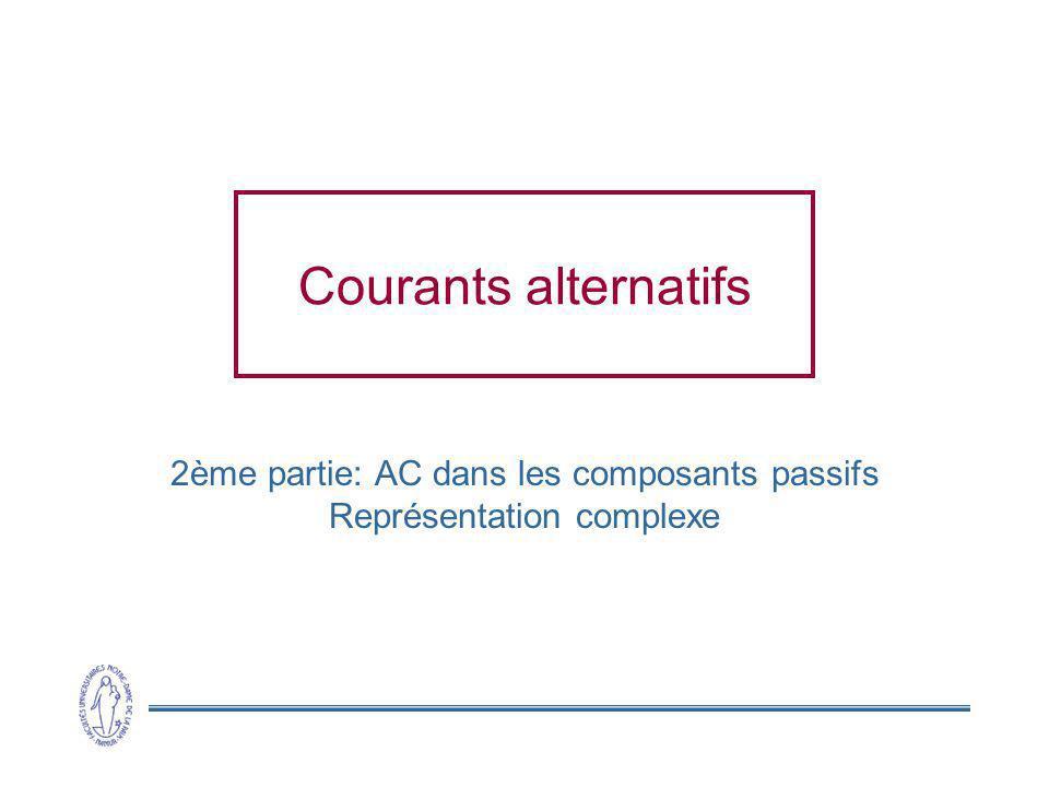 2ème partie: AC dans les composants passifs Représentation complexe