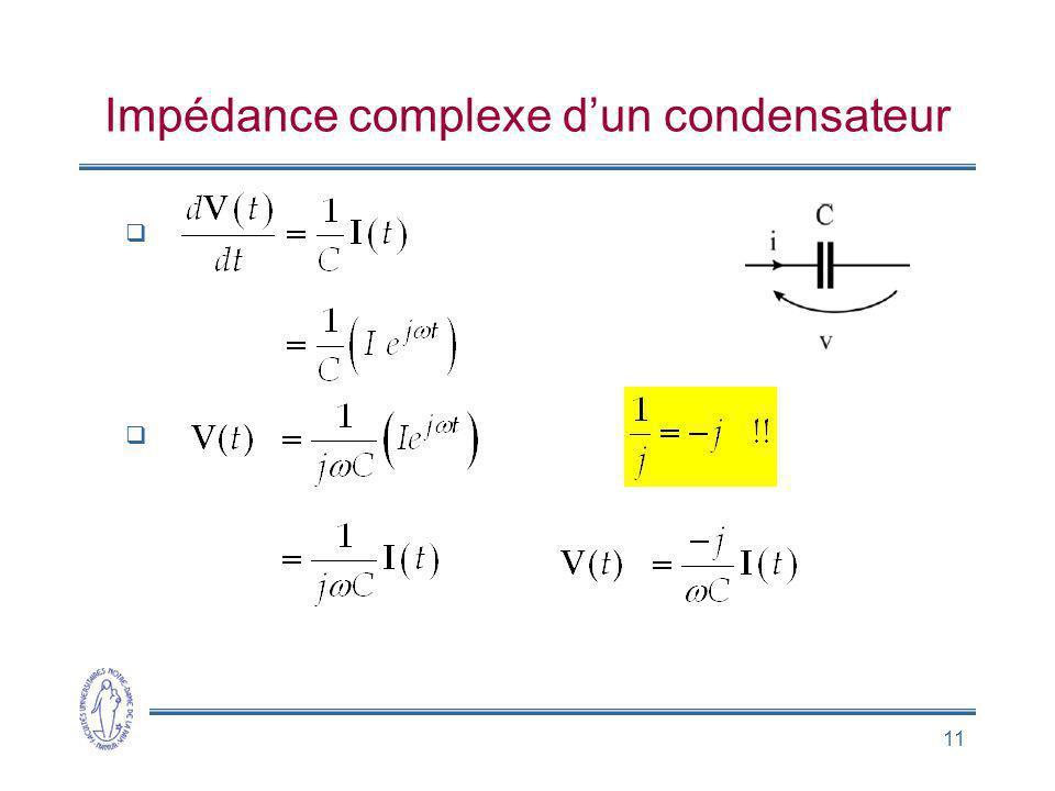 Impédance complexe d'un condensateur
