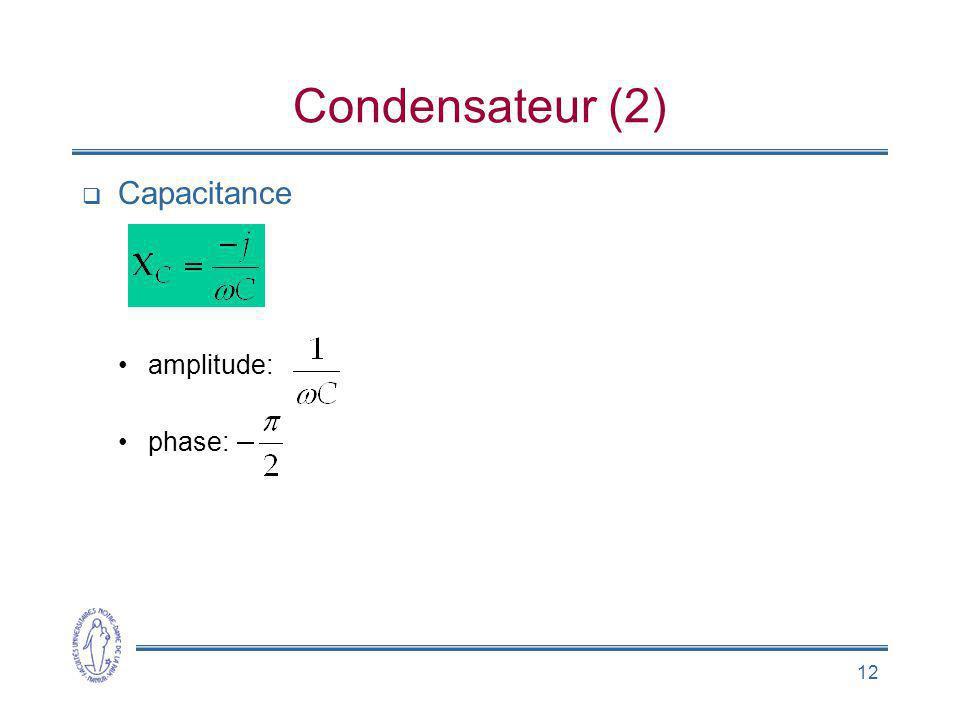 Condensateur (2) Capacitance amplitude: phase: