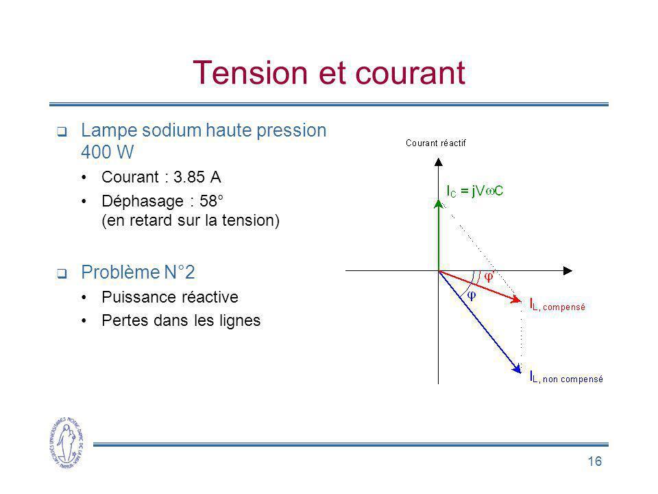 Tension et courant Lampe sodium haute pression 400 W Problème N°2