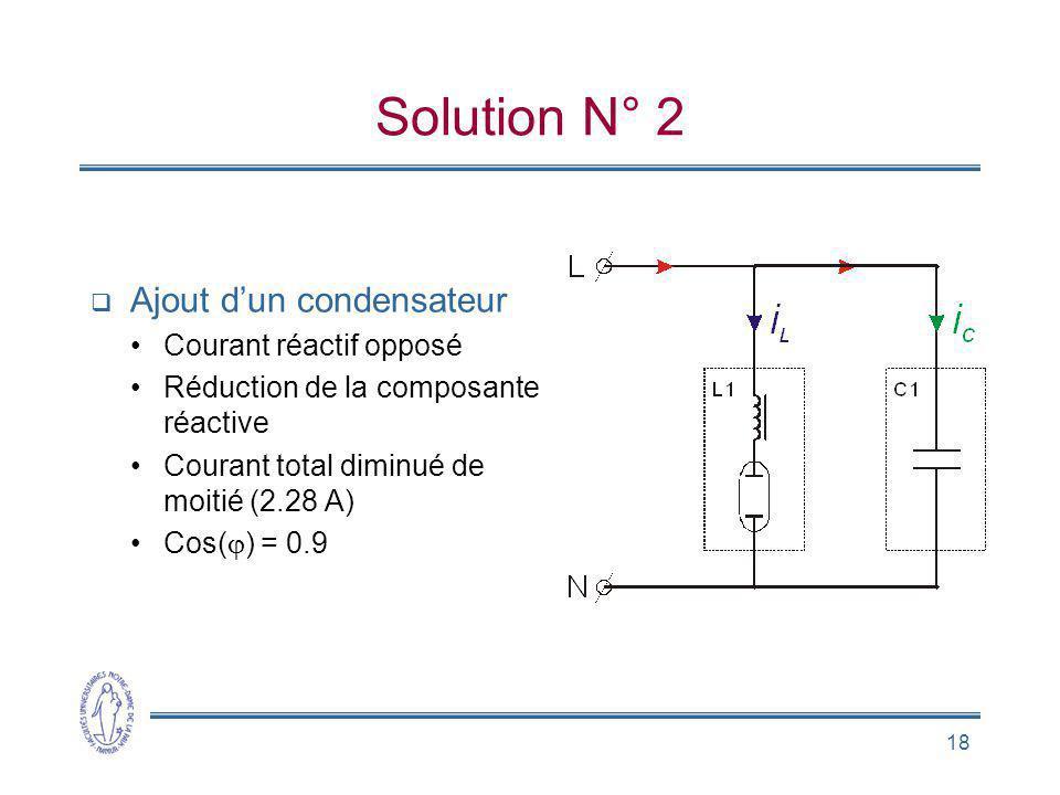 Solution N° 2 Ajout d'un condensateur Courant réactif opposé