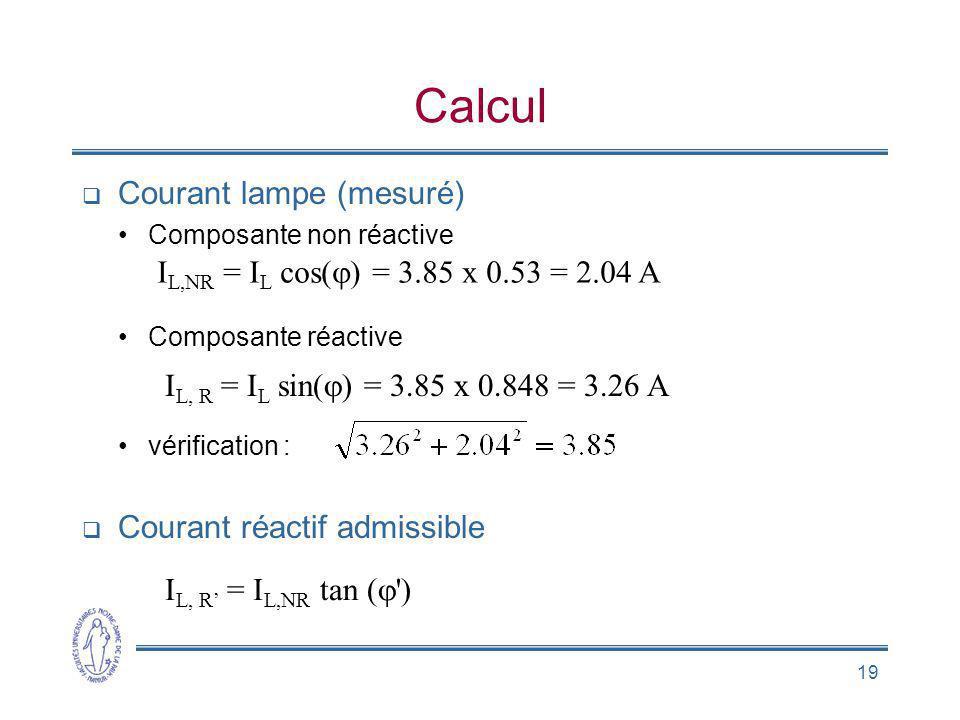 Calcul Courant lampe (mesuré) IL,NR = IL cos(j) = 3.85 x 0.53 = 2.04 A