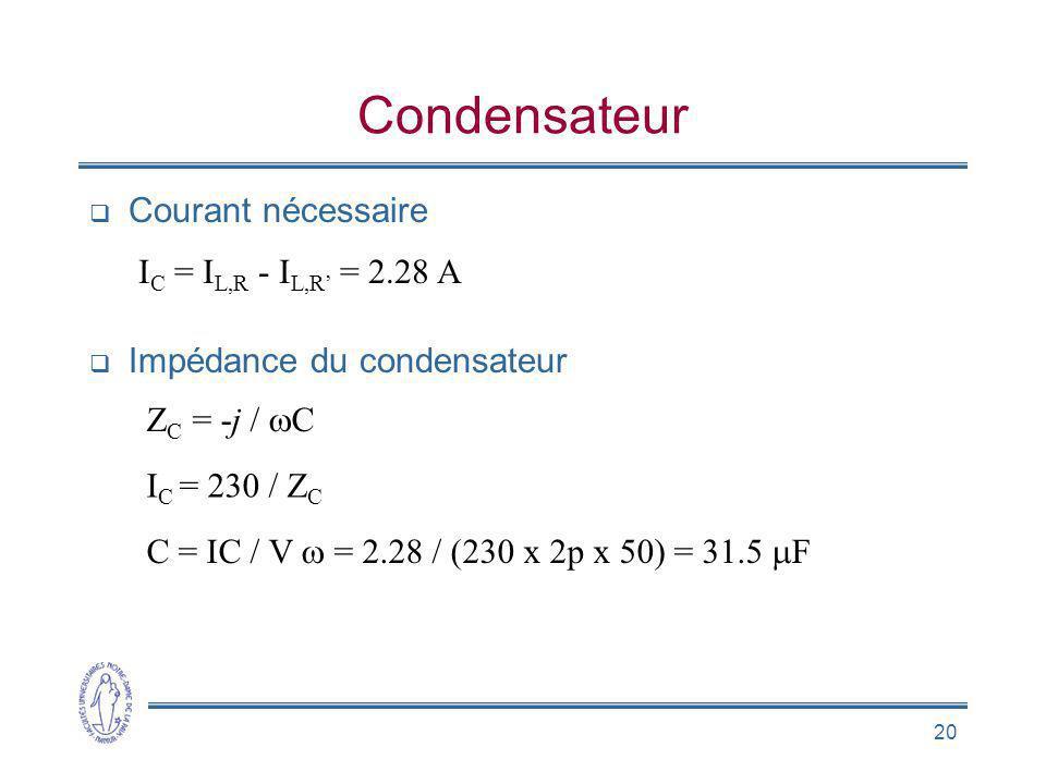 Condensateur Courant nécessaire IC = IL,R - IL,R' = 2.28 A