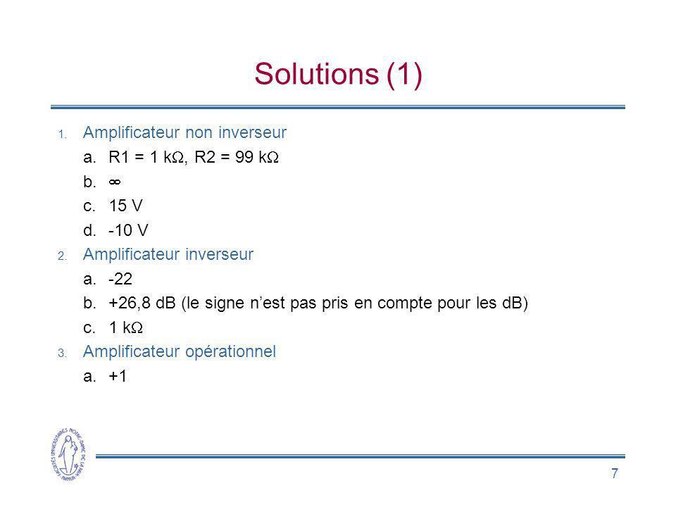 Solutions (1) Amplificateur non inverseur R1 = 1 kW, R2 = 99 kW  15 V