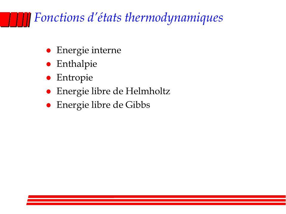 Fonctions d'états thermodynamiques