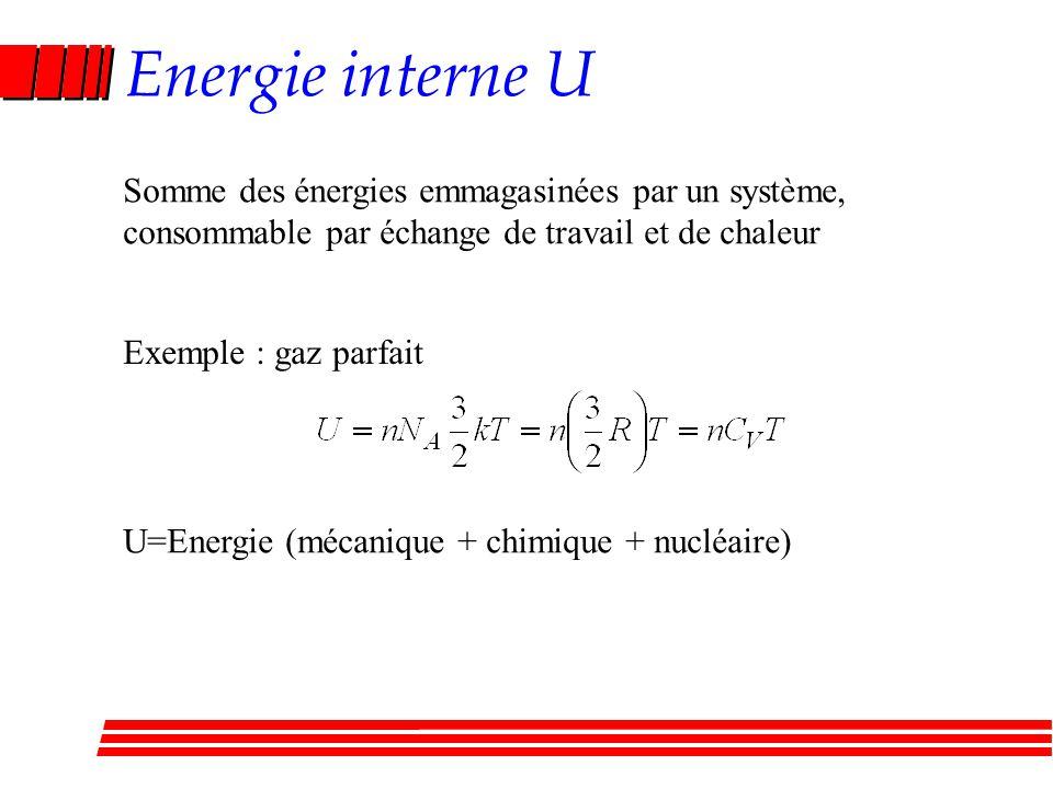 Energie interne U Somme des énergies emmagasinées par un système,