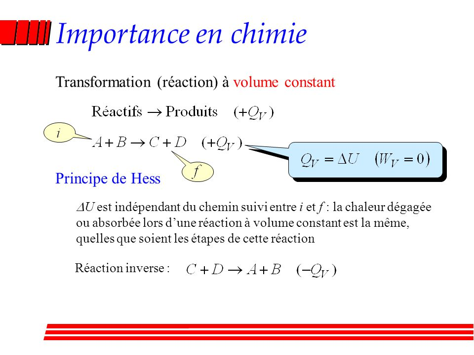 Importance en chimie Transformation (réaction) à volume constant