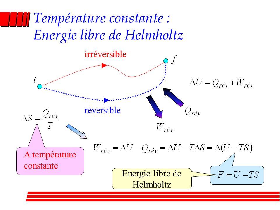 Température constante : Energie libre de Helmholtz