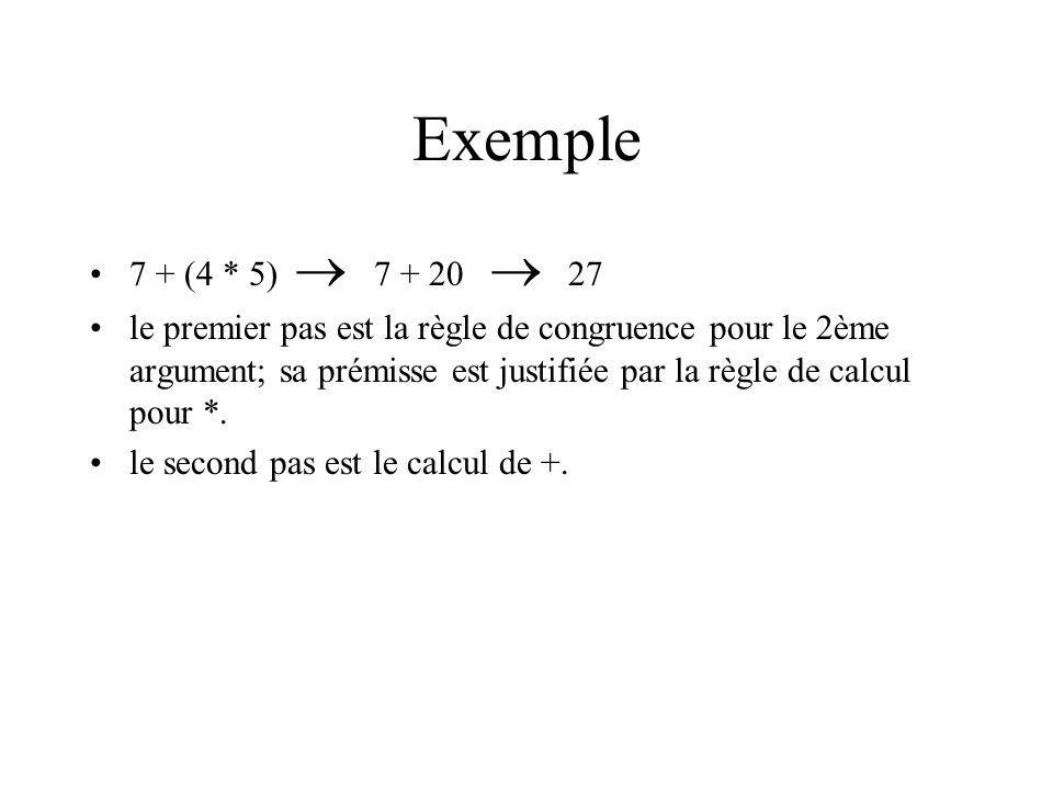 Exemple 7 + (4 * 5)  7 + 20  27.