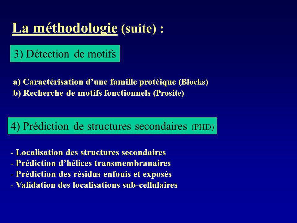 La méthodologie (suite) :