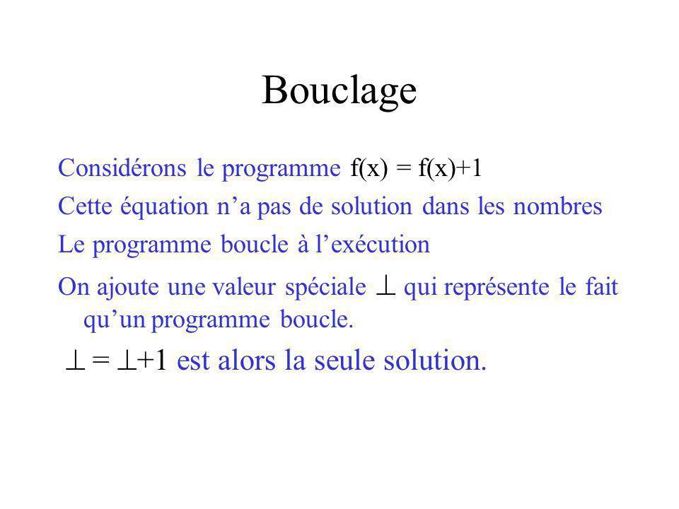 Bouclage  = +1 est alors la seule solution.
