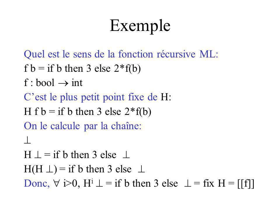 Exemple Quel est le sens de la fonction récursive ML: