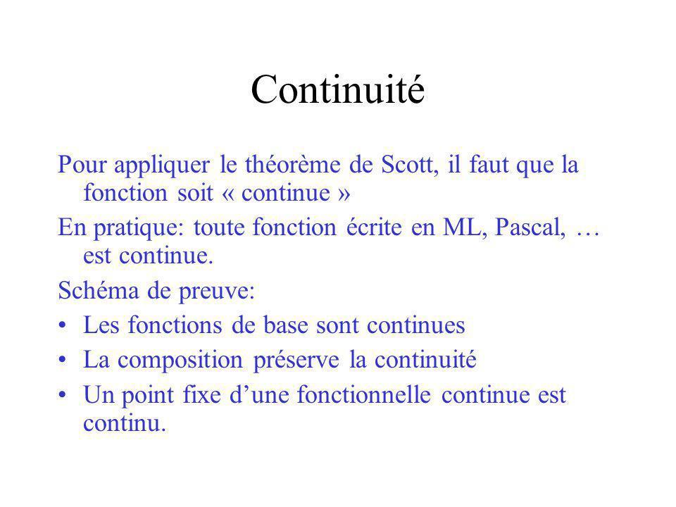 Continuité Pour appliquer le théorème de Scott, il faut que la fonction soit « continue »