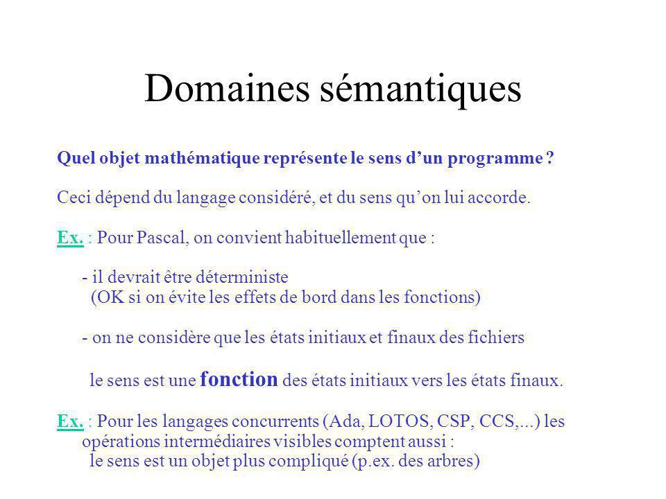 Domaines sémantiques Quel objet mathématique représente le sens d'un programme Ceci dépend du langage considéré, et du sens qu'on lui accorde.