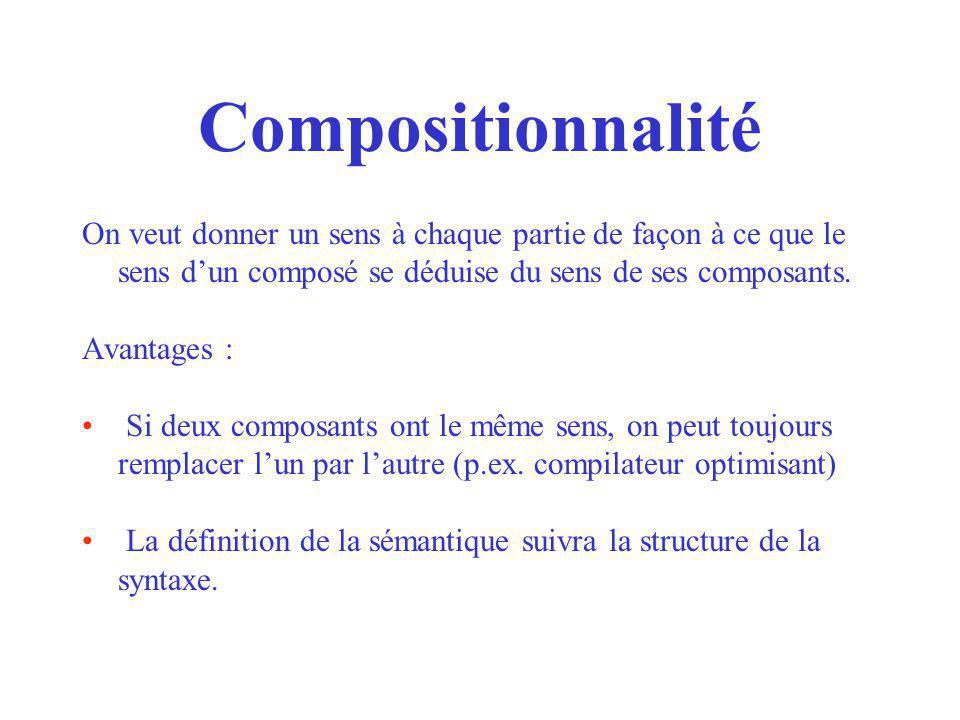 Compositionnalité On veut donner un sens à chaque partie de façon à ce que le sens d'un composé se déduise du sens de ses composants.