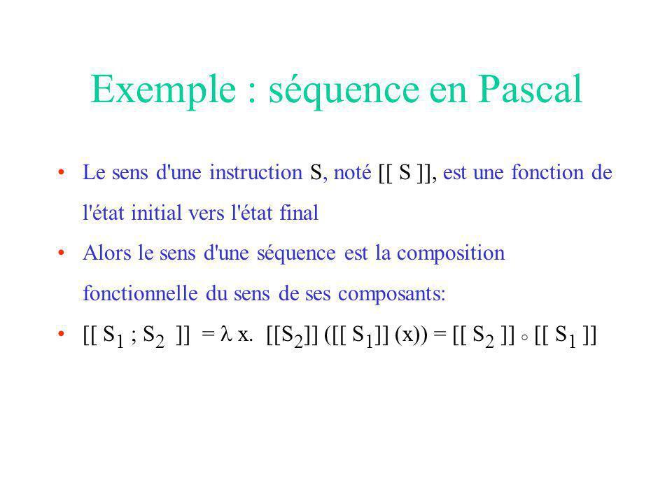 Exemple : séquence en Pascal