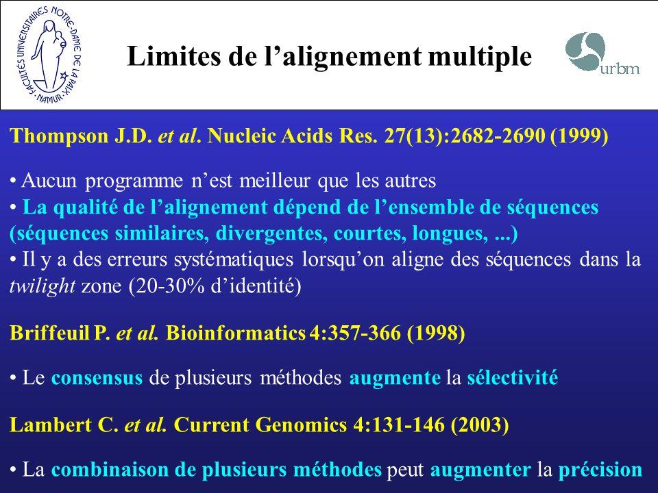 Limites de l'alignement multiple