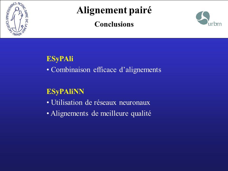 Alignement pairé Conclusions ESyPAli