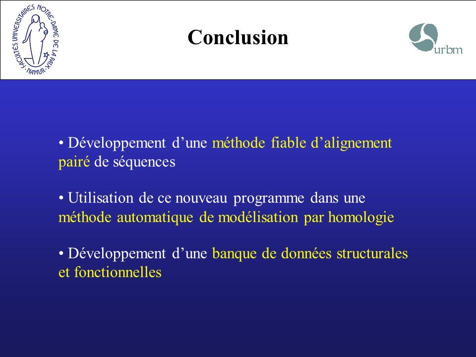 Conclusion Développement d'une méthode fiable d'alignement pairé de séquences.